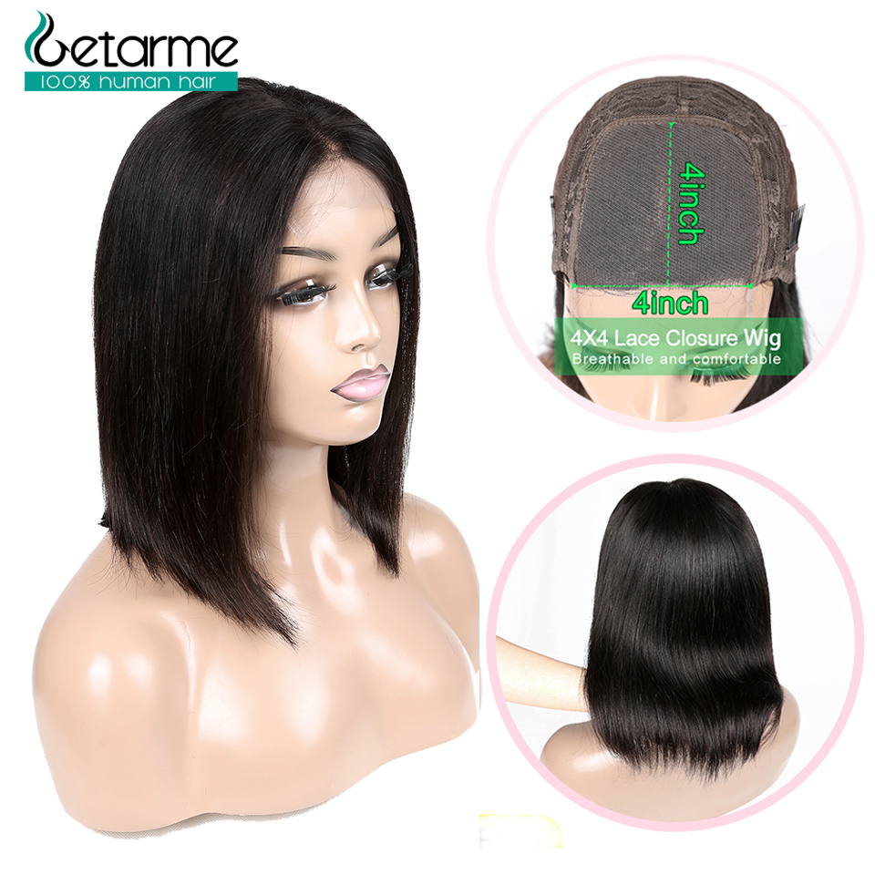 Getarme Hair 4x4 Closure Wig Short Bob Wigs Human Hair Wigs Natural Color Brazilian Hair Wigs Straight Lace Closure Wig Non Remy