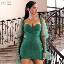 Adyce 2020 Nuovo Autunno Verde A Maniche Lunghe Vestito Dalla Fasciatura Delle Donne Sexy In Pizzo Senza Spalline Mini Celebrità Del Partito di Sera Club Dress Abiti