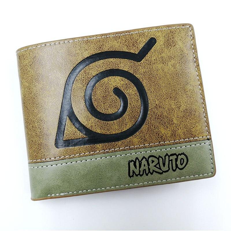 Anime Comics Naruto: Shippūden Konoha Wallet With Coin Pocket Card Holder Khaki Leather Purse Men Women Gift Money Bag