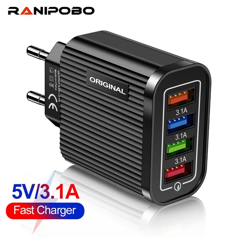 4 порта USB зарядное устройство 5V 2A USB настенный адаптер питания ЕС/штепсельная вилка американского стандарта зарядное устройство для зарядк...