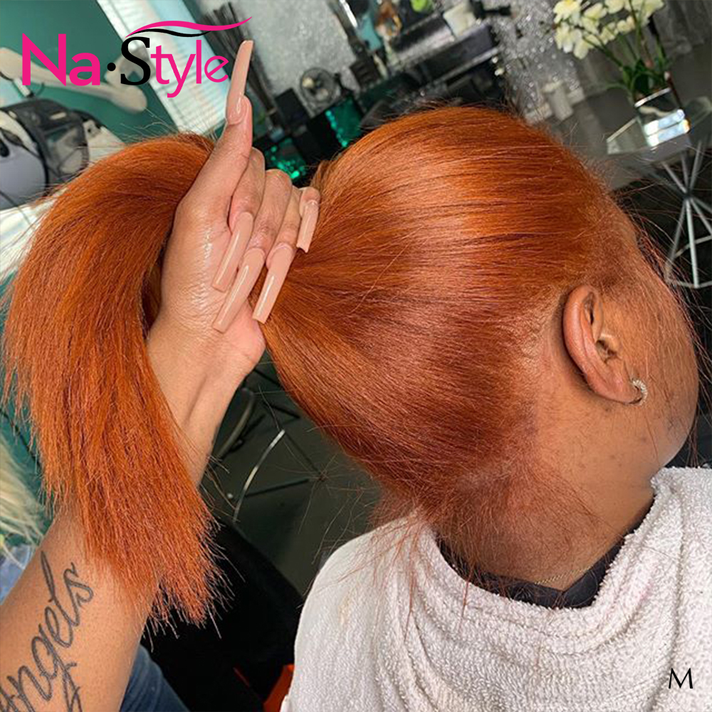 Orange Ginger Lace Front Wig For Women Straight Bob Wig Lace Front Human Hair Wigs 360 Lace Frontal Pixie Wig Human Hair 130Remy
