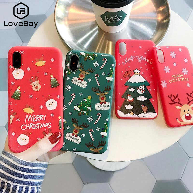 Lovebay Cartoon Christmas Phone Case For iPhone 11 7 8 6 6S Plus Santa Claus Soft Case For iPhone XR X Xs 11Pro Max Lovely Back