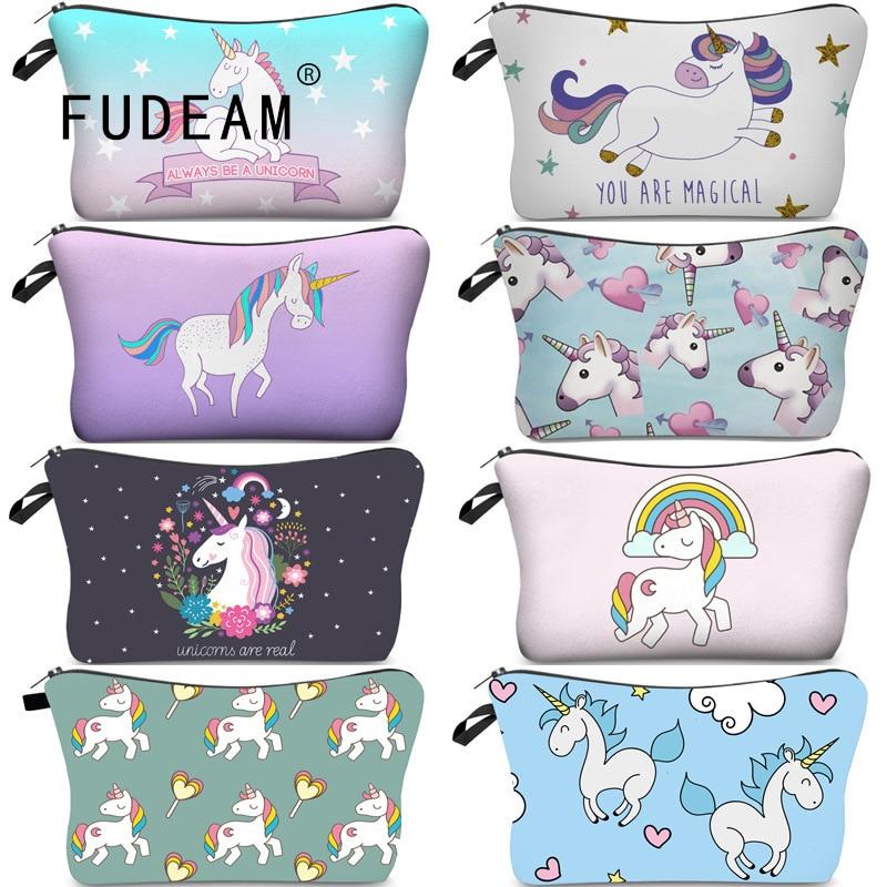 FUDEAM Polyester Unicorn Sloth Print Pattern Women Travel Storage Bag Toiletries Organize Cute Cosmetic Bag Portable Make Up Bag