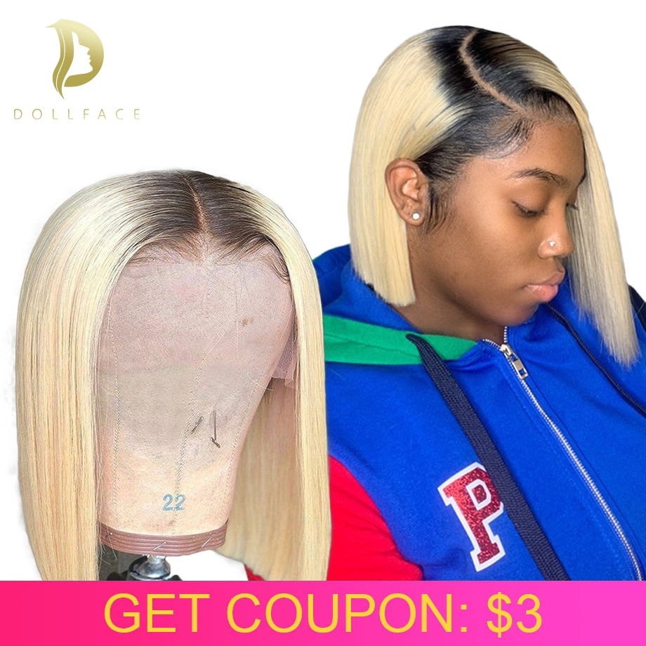 lace front human hair wigs hd Blonde 613 short frontal bob wig brazilian remy straight Ombre colored burgundy for black women image