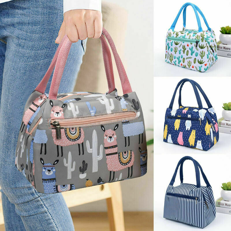 Adults Women Girls Portable Insulated Lunch Bag Box Picnic Waterproof Tote Wholesale Flamingo Cactus