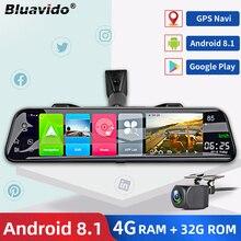 Bluavido 12 дюймов автомобильное зеркало заднего вида камера 4G SIM Android 8.1 GPS-навигатор Детектор радара 2 ГБ RAM + 32 ГБ ROM WiFi регистратор видеорегистрат...