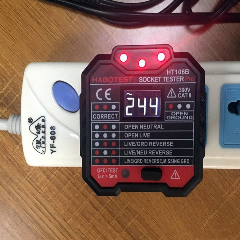 SOLLED Socket Tester Voltage Test Socket Detector EU Plug Ground Zero Line Plug Polarity Phase Check