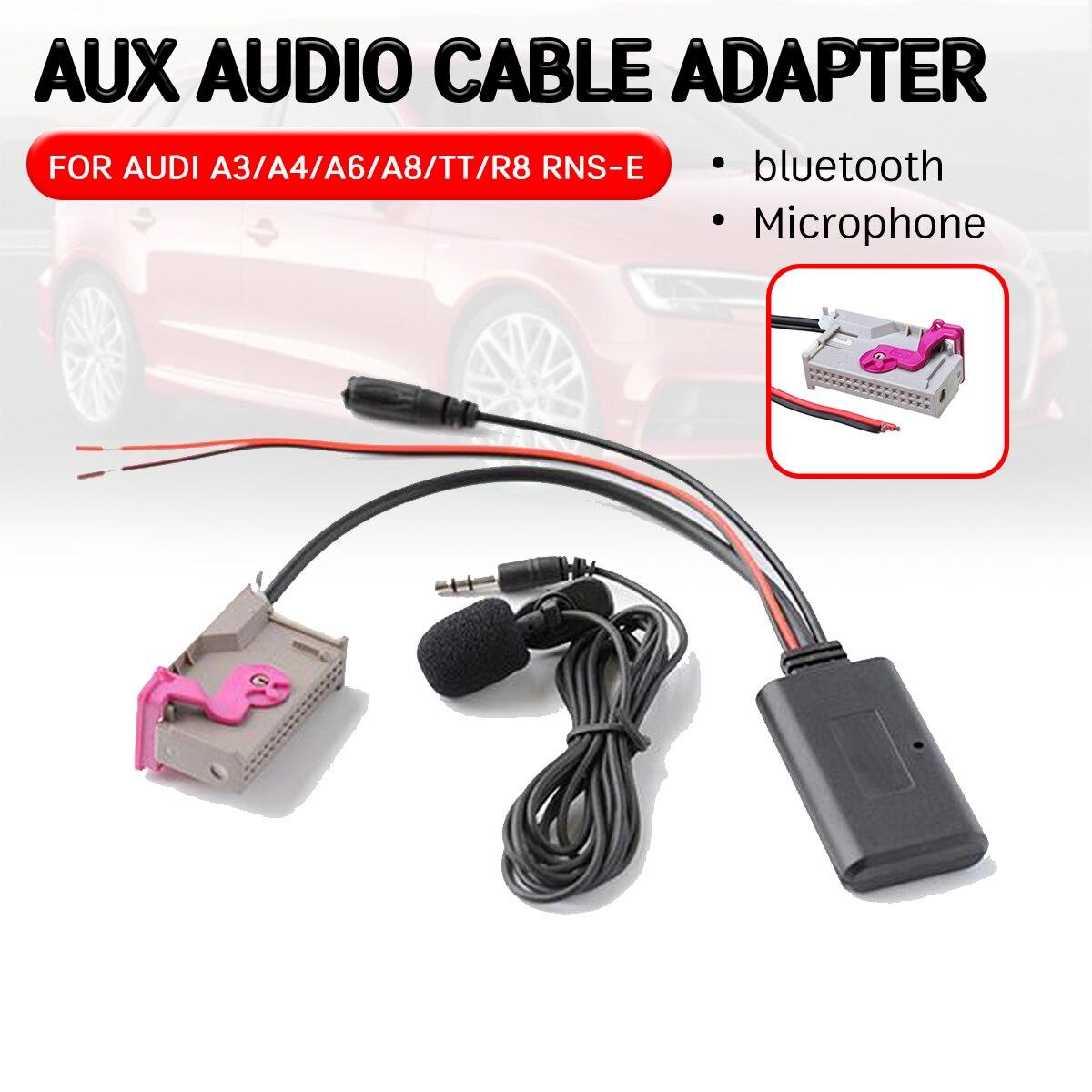 Para audi a3 a4 a6 a8 tt r8 RNS-E adaptador de cabo receptor bluetooth aux com microfone mãos-livres aux módulo para unidade de cabeça de 32 pinos