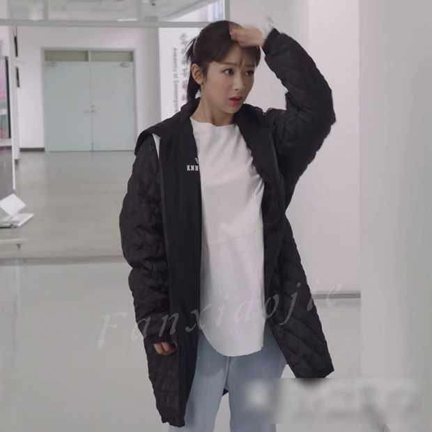 Cher amour Tong années Yang Zi célébrité Style noir à capuche coton manteau mi-long ample-coupe en duvet plume vêtements rembourrés de coton