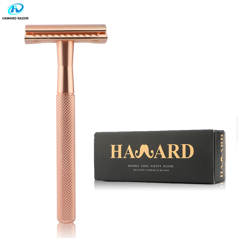 HAWARD Safety Razor Men's Manual Shaving Razor Brand New Rose Gold Classic Double Edge Shaver Hair Removal Shaver With 10 Blades