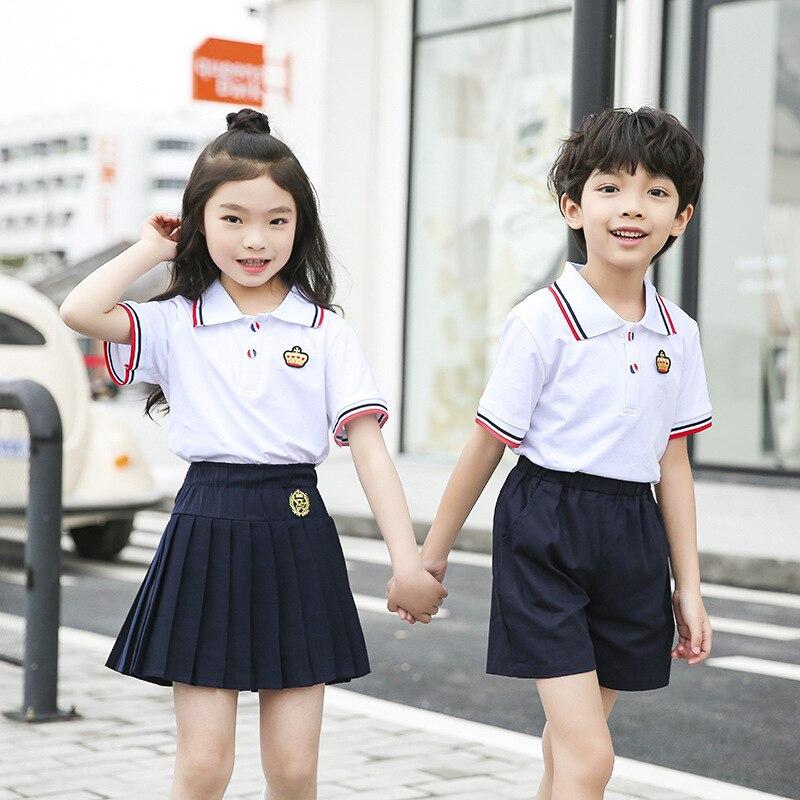 Young STUDENT'S School Uniform Customization Summer Wear New Style T-shirt Suit Summer Kindergarten Suit