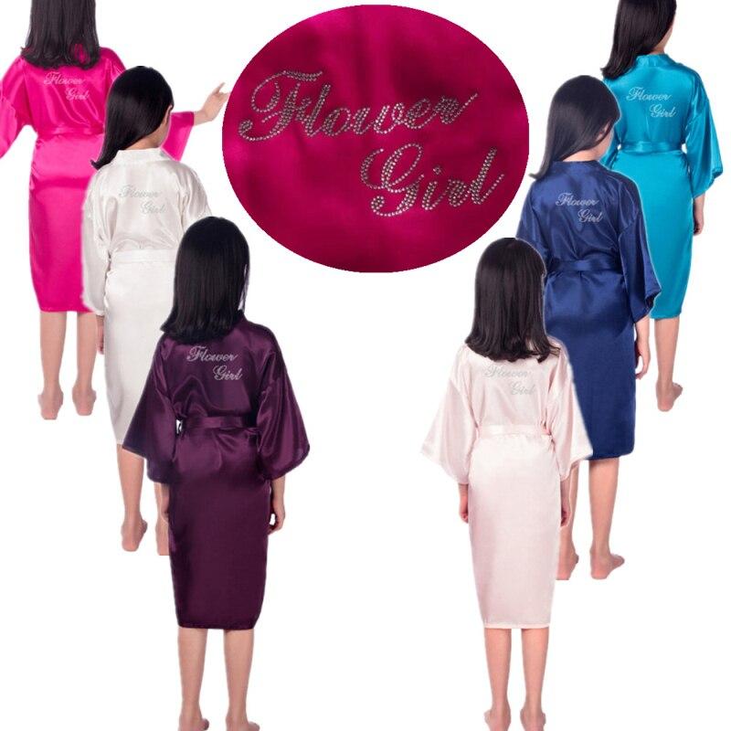 Flower Girl Robes rhinestones Letter Kimono Satin Silk Girl Kids Robe Children Party Weeding Clothes Solid Sleepwear Girls Robe