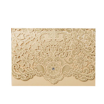 50Pcs Cut Luxury Flora Wedding Invitations Card Elegant Lace Print Envelopes Wedding Party Decoration