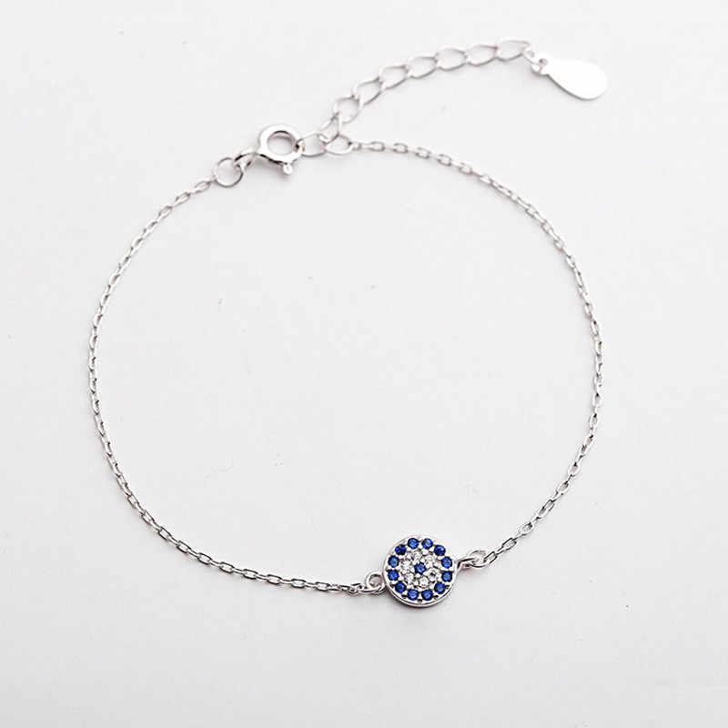 קמע כחול עיני צמיד אמיתי 925 סטרלינג כסף אישיות אביזרי אופנה נשים בוהמיה בסדר תכשיטי מתנה