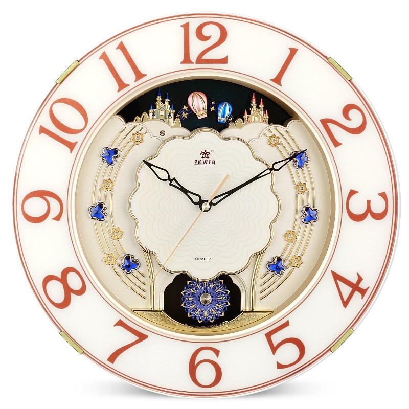European Luxury Large Wall Clock Pendulum Modern Design Hourly Climbing Music Alarm 3D Clock Wall Watch Home Decor 16 inch