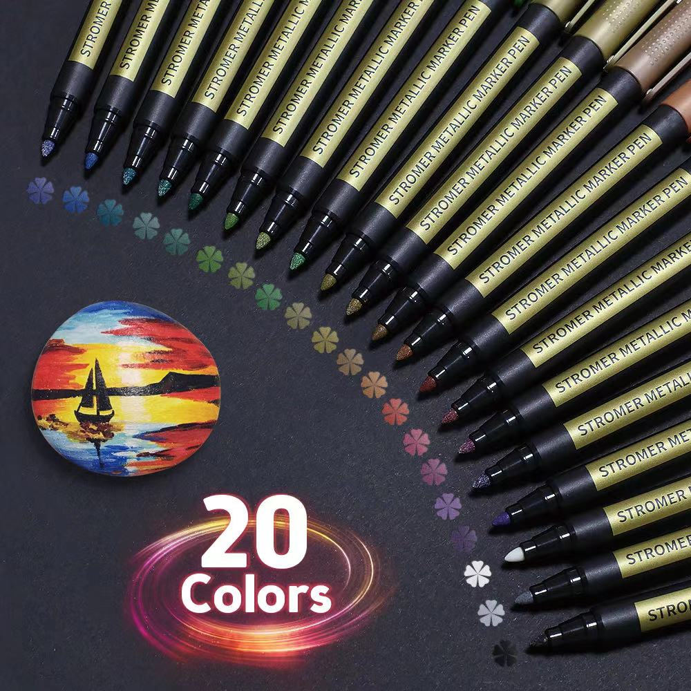 10/20PCS/Lot Metallic Markers Paints Pens Art Permanent Writing Markers for Paper Stone Glass Wall Fabric Scrapbooking Metal
