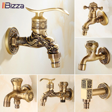 Wall Mount Bibcock Antique Dragon Carved Brass Retro Small Tap Decorative Outdoor Garden Faucet Washing Machine Mop WC Taps 1701