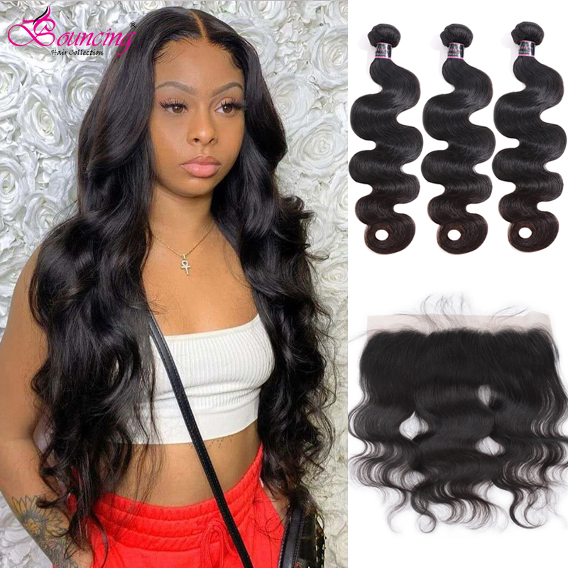 Bouncing Body Wave Bundles With Frontal Brazilian Human Hair Weave 2/3 Bundles With 13x4 Closure Natural Color Hair Extensions