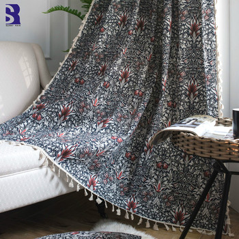 SunnyRain 2-Piece Printed Linen Cotton Curtains for Bedroom Translucidus Living Room Sheel Curtains Drapes