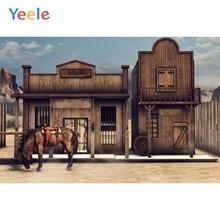 Wild West Western Cowboy Style Wooden House Horse Scene Photography Backgrounds Custom Photographic Backdrops For Photo Studio цена