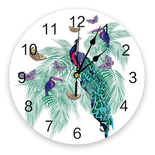 Wall-Clock Modern-Design Living-Room Color-Peacock Kitchen Butterfly Green Leaf