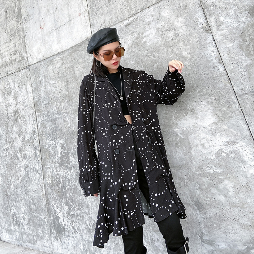 Women 2020 Spring Autumn New Fashion Ruffles Print Star Cherry Jacket Lapel Double Breasted Long Sleeve Irregular Coat Oversize image