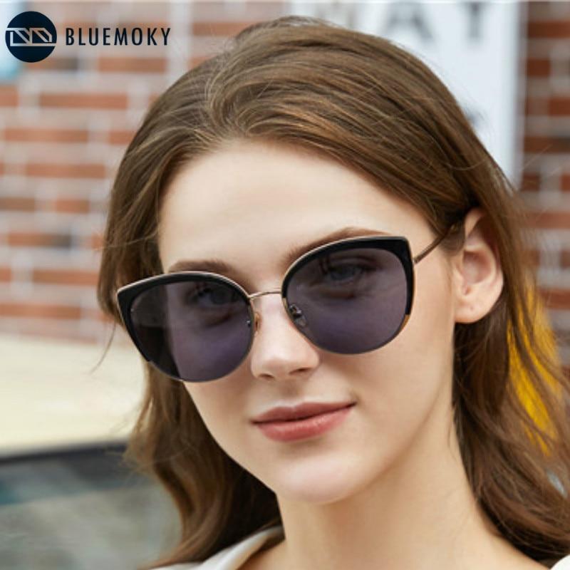 BLUEMOKY Retro Cat Eye Sunglasses For Women Mirror Coating UV400 Driving Shades Brand Designer  UV400 Protection Sunglasses 2020