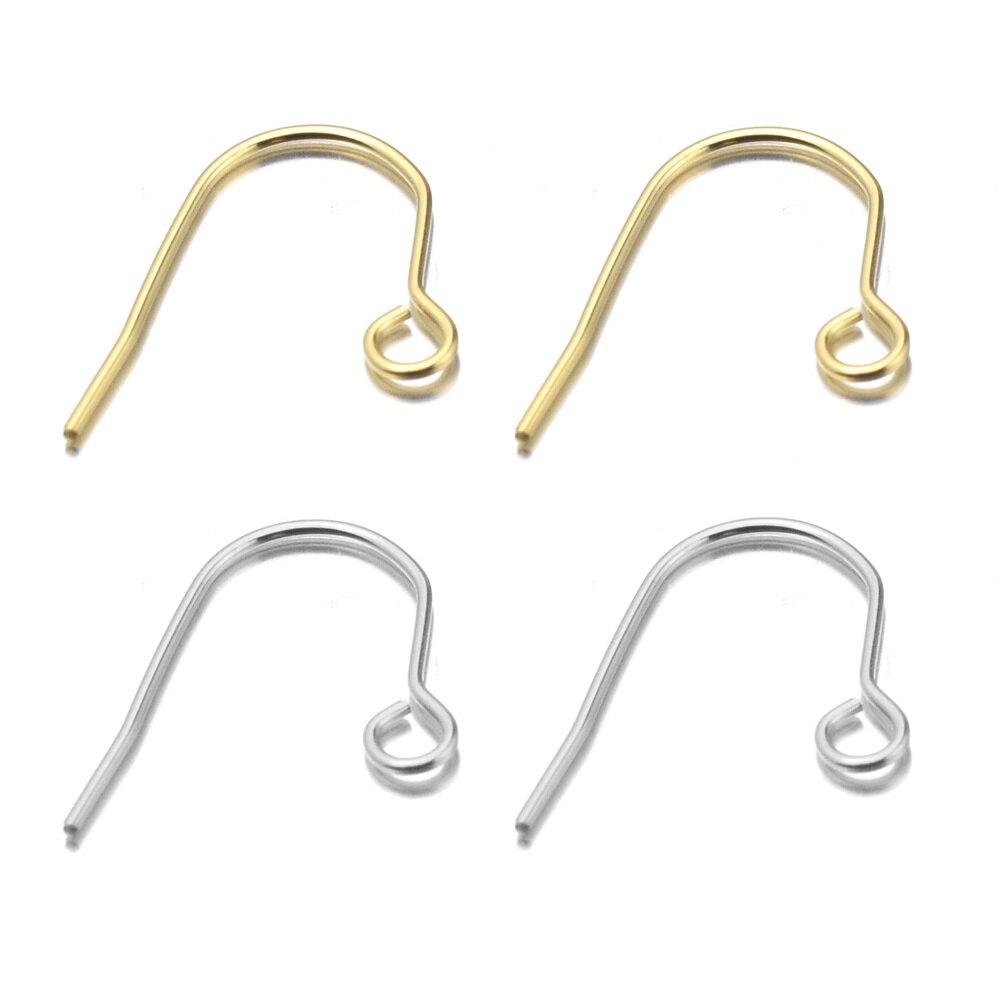 Aiovlo 100 adet/grup paslanmaz çelik altın/gümüş renk küpe Hooks fransız kulak telleri DIY küpe için takı yapımı bulguları