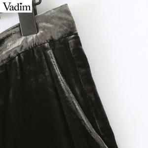 Image 5 - Vadim frauen elegante samt lange hosen elatic taille zipper fly taschen büro tragen feste beiläufige knöchel länge hosen KB207