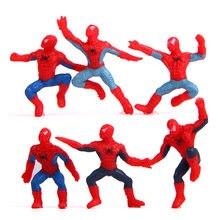 6 pçs/set mini homem-aranha figura os vingadores homem-aranha homem aranha pvc figura de ação brinquedos crianças presentes