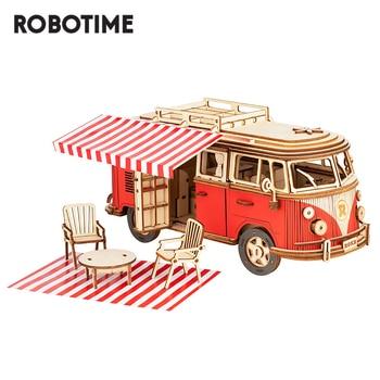 Robotime ROKR Camper Van Block Wooden Puzzle Car Model Toys for Children Kids MCB01