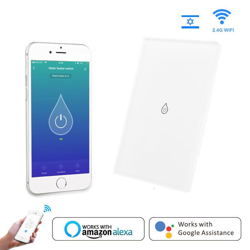 Switch Water Heater Intelligent Life Application Tuya Glass Remote Control Panel Amazon Alexa Echo Google Home Voice Control