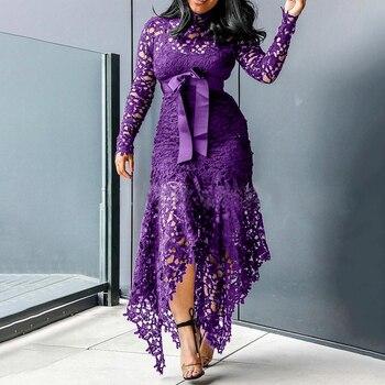 Echoine Slim Sexy Dress Women Spaghetti Straps Lace Mesh Perspective Party Fishtail Patchwork Midi Bodycon Plus Size Vestidos 4