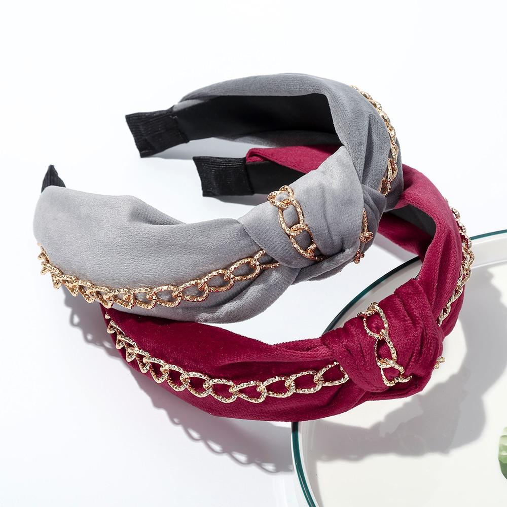 Haimeikang Women Fashion Bezel Headband High-end New Hair Hoop Hair Accessories Chain Knotted Wide-brimmed Head Hoop Headdress