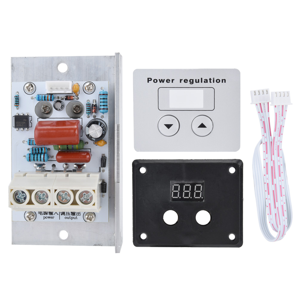 <font><b>AC</b></font> <font><b>220V</b></font> 10000W SCR Digital Control Electronic <font><b>Voltage</b></font> <font><b>Regulator</b></font> Speed Control Dimmer Thermostat + Digital Meters Power Supply image