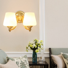 2019 European Design LED Luxury Hanging metal Copper Wall Lamps Bedroom Headboard Bedside Lamp Wall Sconce Light Fixture white black wall lamp double heads e14 candle light metal crystal wall lamps european classic vintage wall lighting fixture