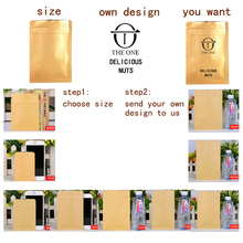 1pcs gift bag High Quality Kraft Paper Coffee Bean Bags Zipper Pouch Heat Seal Retail Customized logo Printing