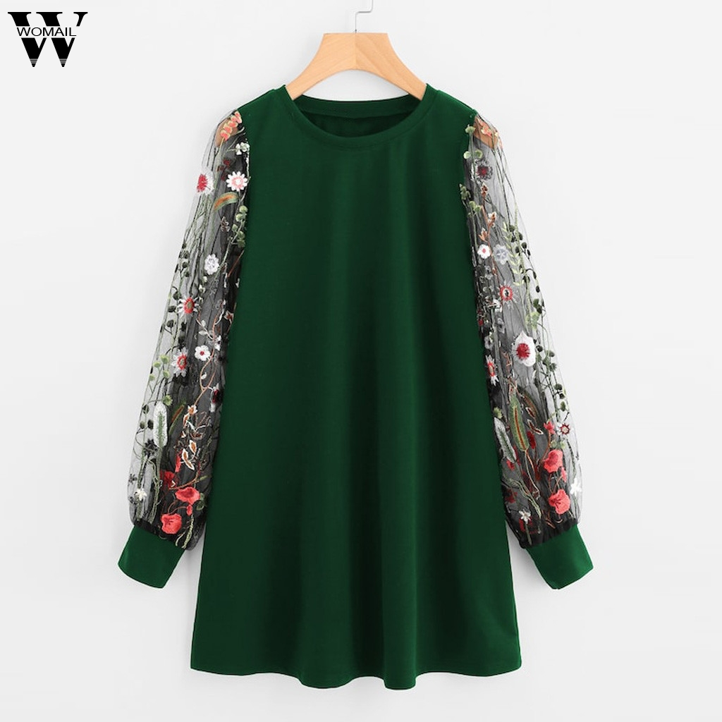 Womail Dress Women 2019 Embroidered Pullover Sweatshirt Dress Elegant Casual O-Neck Mesh Long Sleeve Dress Loose Party Dress 96