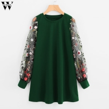 Womail Dress Women 2019 Embroidered Pullover Sweatshirt Dress