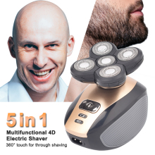 цена на 5 in14D Electric Razor for Bald Men Wet & Dry Electric Shaver Waterproof Rotary Shavers Rechargeable Electric Man Shaver Razor