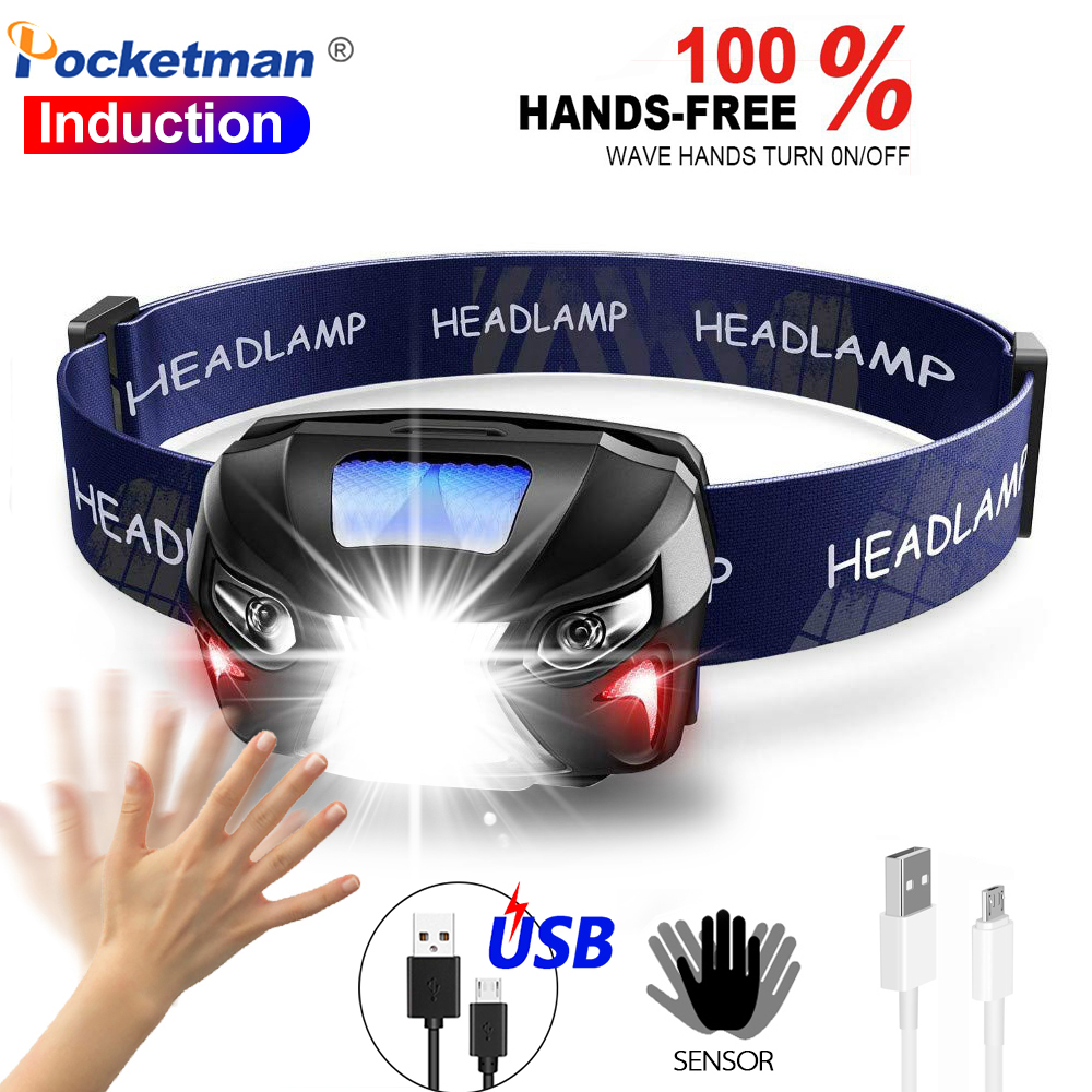 Super Bright Rechargeable Headlamp Body Motion Sensor Headlight Front Torch Lantern Camping Light Lamp Built-in Battery With USB