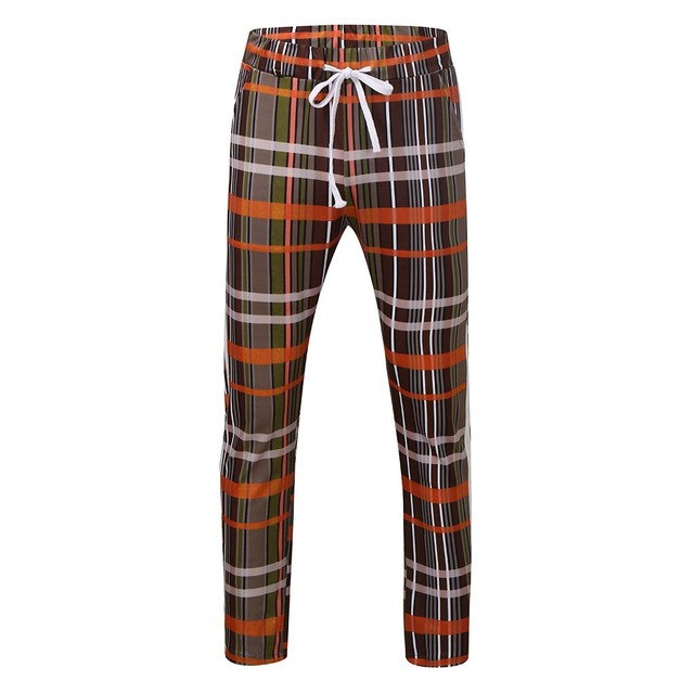 summer men trousers casual Men Lattice Pencil Casual Plaid Drawstring Elastic Waist Long Pants men trousers casual#4 Uncategorized Fashion & Designs Men's Fashion