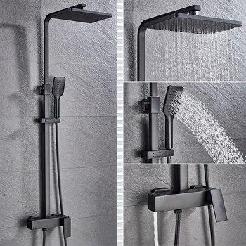 Bathroom Faucet Chrome/Black Rain Shower Head Bath Faucet Wall Mounted Bathtub Shower Mixer Tap Shower Faucet Shower Set Mixer 7