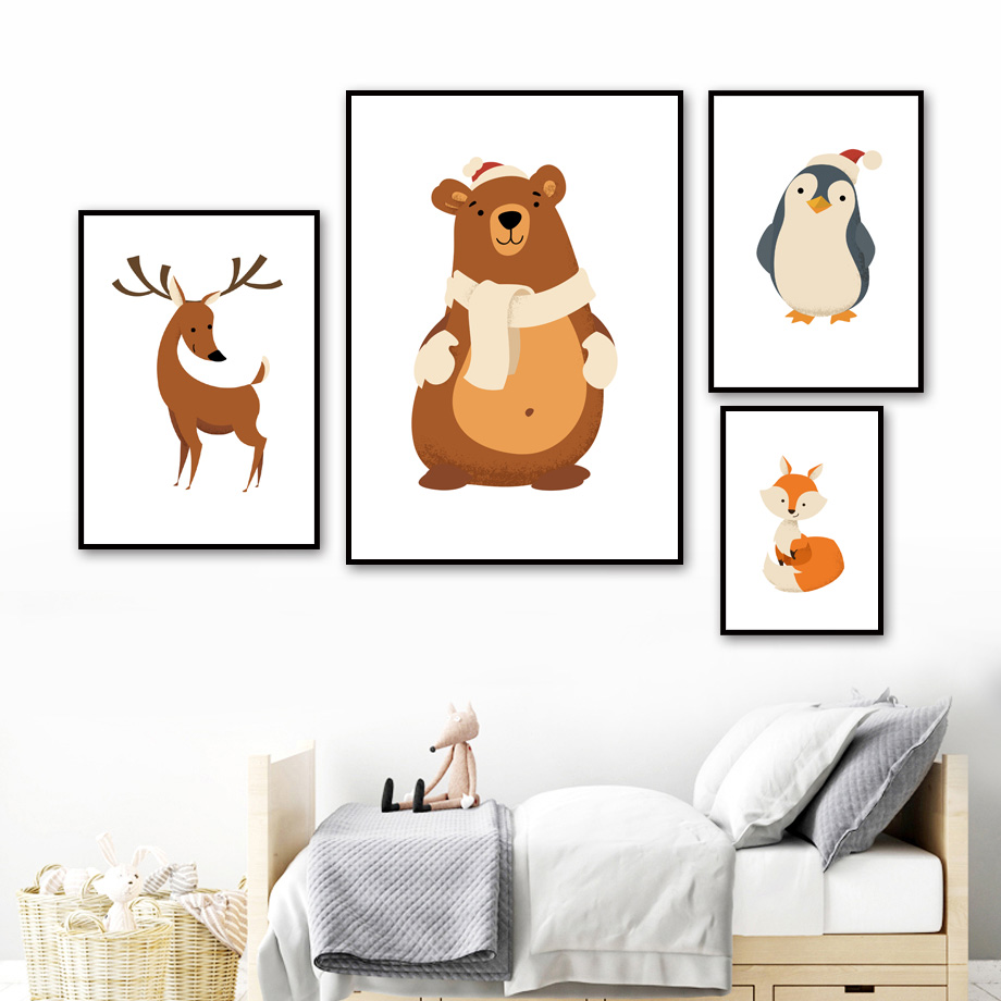 Cartoon Fox Bear Penguin Sika Deer Wall Art Print Canvas Painting Nordic Canvas Posters And Prints Wall Pictures Kids Room Decor in Painting Calligraphy from Home Garden