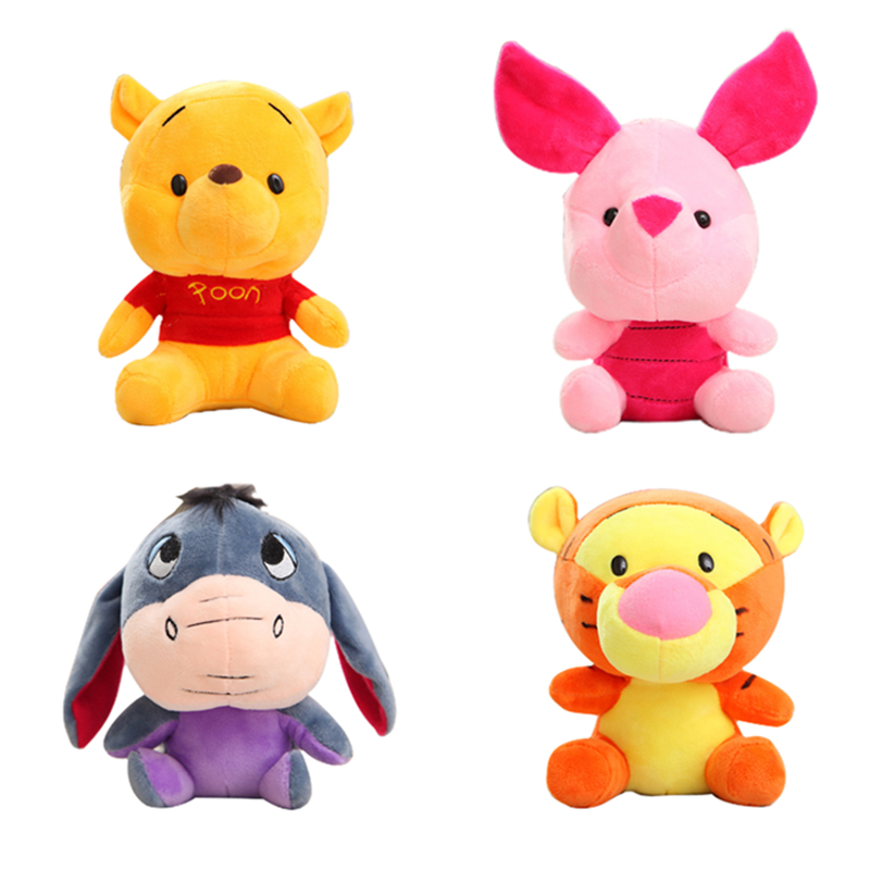 Disney Winnie The Pooh 10CM Stuffed Animals Plush Dolls Toys With Keychain Pendant Cute Anime Cartoon Doll For Children Gift