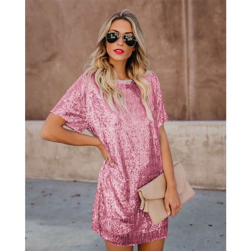 Plus Size Straight Sequined Gold Dress Summer 2020 Short Sleeve Patchwork Ladies Mini Dress Casual Loose Silver Women Clothes