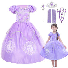 2-10T Princess Sophia girls cotton printed short sleeved summer party cosplay performance suit costume dress