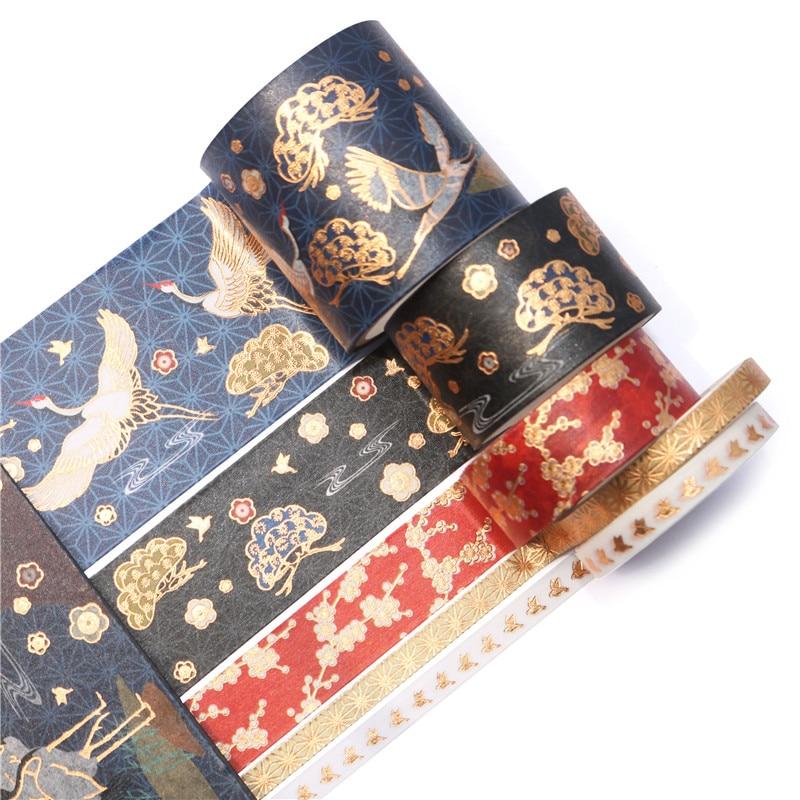 5pcs/set Vintage Gold Foil Crane Washi Tape Adhesive Paper Tape School Office Supplies DIY Scrapbooking Decorative Sticker Tape