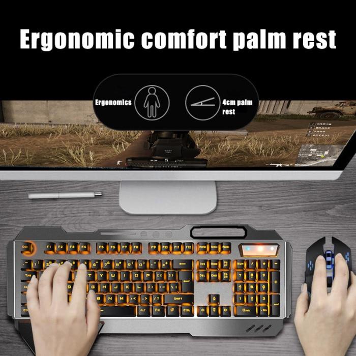 Cor led backlit teclado sem fio e