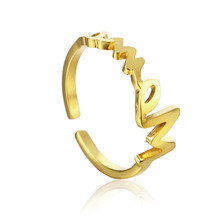 цена на Letter Ring Woman Accesories Fashion Stainless Steel Jewelry Quality Elegant Female Charming Lucky Opening Adjustable Ring